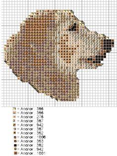 golden retriever cross stitch chart