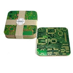 Circuit board coasters; I am TOTALLY doing this with my students during electricity unit!--maybe not coasters, but something similar