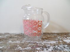 Vintage Glass Pitcher Pink Kitchen Pink by VintageShoppingSpree, $35.00