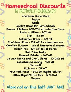 Homeschool Supply Checklist