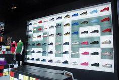 Retail Design | Footware | Store Design | Shop Interiors | NIKE DISPLAYS Shoe Display, Display Design, Design Shop, Display Wall, Shoe Store Design, Digital Retail, Design Commercial, Shoe Wall, Floor Plan Layout