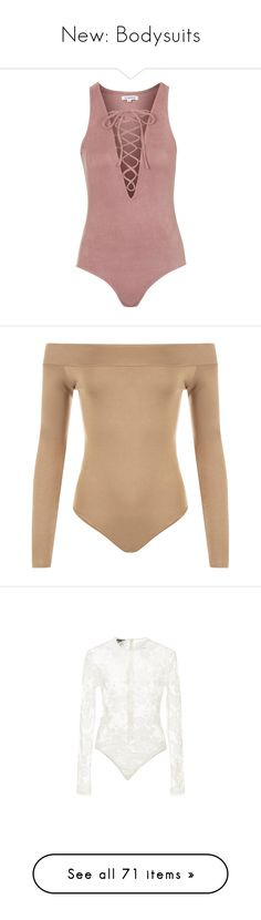"""New: Bodysuits"" by hi-its-shannon ❤ liked on Polyvore featuring tops, bodysuit, intimates, one piece, pink, topshop, shapewear, body, mocha and dance"