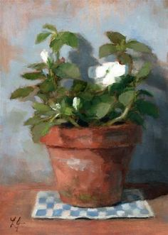 "Daily Paintworks - ""Impatiens"" - Original Fine Art for Sale - © Linda Jacobus"