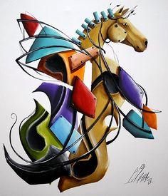 Cubist Original Oil Painting Music Pegasus LARGE 28 inch Horse Vioin Europe Artist Surrealism Modern Contemporary Cubism Mythology