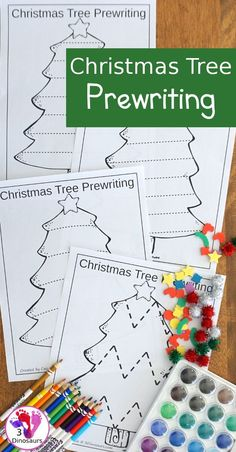 How To Produce Elementary School Much More Enjoyment Free Christmas Tree Prewriting - 4 Pages Of No-Prep Prewriting With A Christmas Tree Theme - Christmas Worksheets, Christmas Activities For Kids, Preschool Christmas, Preschool Activities, Kids Christmas, Lines On Christmas, Cool Christmas Trees, Christmas Tree Themes, Pallet Ideas