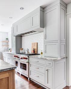 Grey and Oak kitchen in a historic Glen Ridge, NJ estate. Grey and Oak kitchen in a historic Glen Ridge, NJ estate. Light Gray Cabinets, Grey Kitchen Cabinets, Kitchen Cabinet Colors, Painting Kitchen Cabinets, White Cabinets, White Ikea Kitchen, Cabinets To Ceiling, Shaker Style Cabinets, Kitchen Hoods