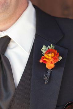 Orange Flower Boutonniere