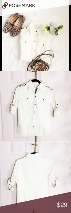 🌿NEW YORK&CO. BEADED SHOULDER BLOUSE🌿 NWT sturdy cotton blouse it is not flimsy cotton, epaulettes on shoulder area with beaded detail. Sleeves are 3/4 and can be worn rolled up or down as shown. Cotton/Spandex. New York & Company Tops Blouses