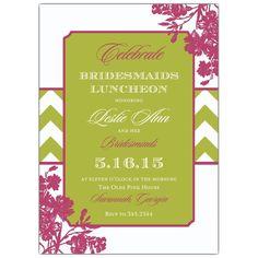Chevron Floral Bridesmaids Luncheon Invitations