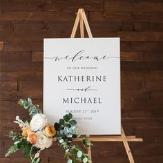 A B O U T ⋆ T H I S ⋆ L I S T I N G Katherine Suite An elegant and classic wedding welcome sign featuring dainty script and simple typography. The text colour and background colour is completely customizable. P R I N T A B L E ⋆ F I L E For the moment, all of my products are only