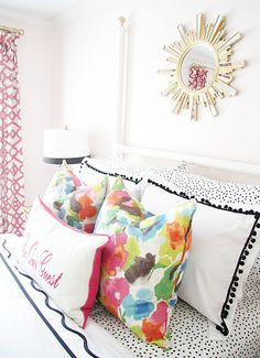 Love this bedding mix - flower print and dots