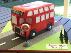 This London Bus birthday cake was for a fabulous lady turning 90 years young! Her family threw her a little festa, starting with a trip, alo. Toddler Birthday Cakes, 6th Birthday Parties, Man Birthday, Bus Cake, British Party, Second Birthday Ideas, London Cake, Wheels On The Bus, London Bus
