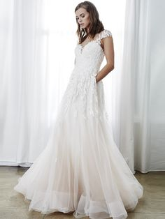 Look like a boho princess in this beautiful A-line ball gown wedding dress. With floral flutter sleeves and embroidered tulle, this gown is dreamy perfection! Blush Pink Wedding Dress, Colored Wedding Dresses, Boho Wedding Dress, Wedding Dress Styles, Bridal Dresses, Wedding Gowns, Wedding Bells, Lace Ball Gowns, Dream Dress