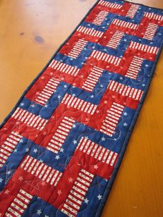 Handmade Quilted Table Runner Stars and Stripes - $25.00 - Handmade Holidays, Crafts and Unique Gifts by PatchworkMountain