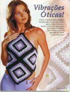 Innovart in crochet Crochet Halter Tops, Top Crop Tejido En Crochet, Bikini Crochet, Crochet Summer Tops, Débardeurs Au Crochet, Pull Crochet, Crochet Woman, Crochet Granny, Crochet Hats