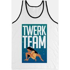 Twerk Team Pocahontas (Tank) ($27) ❤ liked on Polyvore featuring tops, shirts, tank tops, t-shirts, shirt tops, slimming tops, slim shirt, slim fit shirts and slimming tank