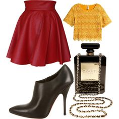 A fashion look from July 2015 featuring flared skirts, leather booties and leather crossbody purse. Browse and shop related looks. Fall 2015, Polyvore Fashion, Chanel, Shoe Bag, Sewing, Happy, Stuff To Buy, Shopping, Collection