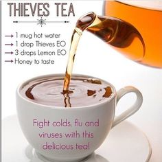 Young Living Essential Oils: Thieves Tea for Cold - use only the graphic. Link leads to Chipotle rice recipe