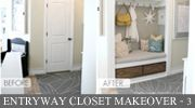 DIY Tutorials - turn a standard hall closet into an organized welcome nook