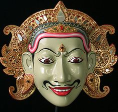 Rama mask  Wayang Wong dance drama, Bali, Indonesia  11 inches wide, painted wood, gilded and mirrored leather, jewelry  Made by Ida Ketut Berati, master carver