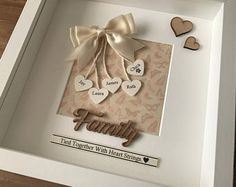Personalised Box Family Frame- family tied together by heart strings