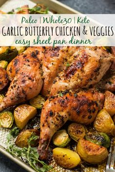 This garlic butterfly chicken is so easy to make and results in the best tasting chicken ever! It's Paleo, Keto, you name it because it's just chicken and some good ol' fashioned seasoning. Also known as spatchcock chicken, pared with the veggies Easy Chicken Dinner Recipes, Healthy Chicken Recipes, Real Food Recipes, Cooking Recipes, Cooking Food, Food Tips, Garlic Recipes, Paleo Food, Paleo Meals
