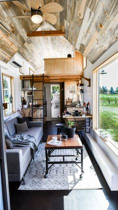 Urban Payette Tiny Home with Bump Out 0016 Really like this look! But where is any clothing storage or boots, shoes, coats? house design Urban Payette Tiny Home with Bump Out House Design, House Interior, Small Spaces, Home, Tiny House Plans, Tiny House Interior, Tiny House Interior Design, Home Design Plans, Small Living