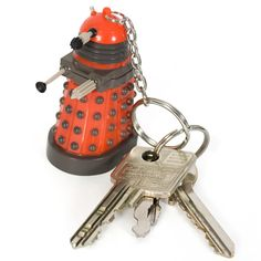 You can come out from behind the sofa now, because despite the ultra bright LED lurking inside this Dalek Keychain Torch, it can't actually exterminate anything. At least we don't think it...Aargh!!