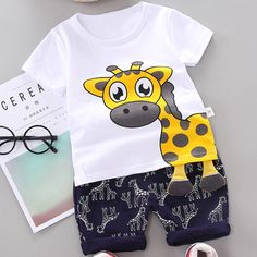 Giraffe Print Tee and Shorts Set Baby Outfits Newborn, Baby Boy Newborn, Baby Boy Outfits, Kids Outfits, Baby Boys, 2nd Birthday Boys, Baby Boy Shirts, Baby Suit, Designer Kids Clothes