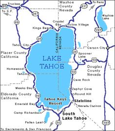 Map of Lake Tahoe. #California #Travel #FlyICT