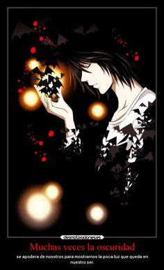 carteles anime oscuridad ser luz beyondbirthday deathnote desmotivaciones