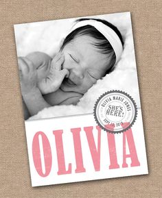 BABY Announcement BIRTH Announcement - Baby Boy or Baby Girl - Printable. $12.00, via Etsy.