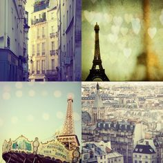 Paris Photos - City of Love Print Set - Eiffel Tower, Pictures of Paris, Romantic Travel Photography. $30.00, via Etsy.