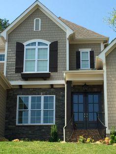 Charcoal Roof Khaki Hardi Red Brick White Trim Combo