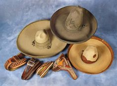 Mexican Sombreros plus fancy Mexican Gun Leather