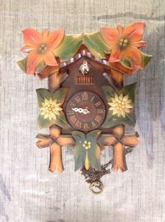 Antique-Black-Forest-Cuckoo-Clock-Case-For-Restoration-Or-Spare-Parts-25x20x12cm