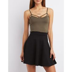 Charlotte Russe Strappy Caged Tank ($9.99) ❤ liked on Polyvore featuring tops, olive, deep v neck top, black tank top, criss cross tank top, black tank and black singlet