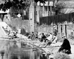 Fishing on the canal, Bethnal Green.