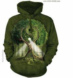 The Mountain Adult Unisex Hoodie Sweatshirt - Yin Yang Tree Hoodie Sweatshirts, Hoodies, Yin Yang, Tie Dye Hoodie, Green Tie, 3d Prints, Unisex, Herren T Shirt, Green Cotton
