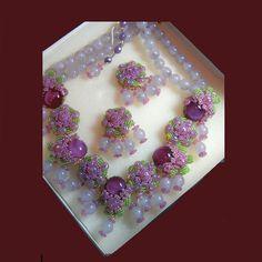 Stanley Hagler NYC - Perfect pink and lime necklace, clip earrings, bracelet parure. Signed STANLEY HAGLER N.Y.C.