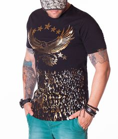Billionaire Eagle Print T-Shirt - Black Color: Black Crew neck collar Print Billionaire logo on the front Billionaire logo on the left sleeve Cotton. Eagle Print, News Design, Hard Rock, Boy Fashion, Neck T Shirt, Crew Neck, Designer Clothing, Ds, Sleeves