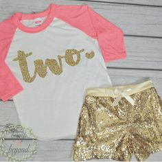 2 Year Old Birthday Shirts 2nd Birthday Shirt Outfit Set with Shorts Trendy Toddler Girl Gold Two Outfit Gold Sequin Shorts Raglan Set by BumpAndBeyondDesigns