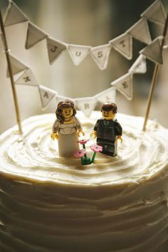 Wedding Cake Topper - Lego Themed Wedding Invitations and Other Decoration Ideas - EverAfterGuide
