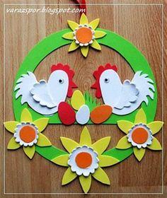 húsvét papírdísz Easter Art, Easter Crafts For Kids, Preschool Crafts, Diy Arts And Crafts, Paper Crafts, Easter Bunny Colouring, Diy Ostern, School Decorations, Easter Wreaths