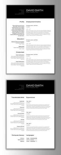 Modern Resume Template Resume + Cover Letter for MS Word Includes - microsoft word template resume