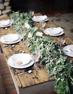 Rustic table runner Rustic - wedding centerpieces and table decorations Rustic Garden Wedding, Rustic Gardens, Sage Wedding, Olive Branch Wedding, Fern Wedding, Garden Weddings, Spring Weddings, Botanical Wedding, Rustic Weddings