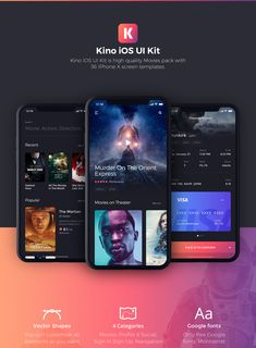Kino iOS UI KIt is high quality pack to kickstart your movie projects and speed up your design workflow. Kino includes 36 iOS screen templates designed in Sketch, 4 categories (Movie, Profile & Social, Sign In & Sign Up, Navigation). This modern design template is easy to customize, making it even easier for you to design your next app.