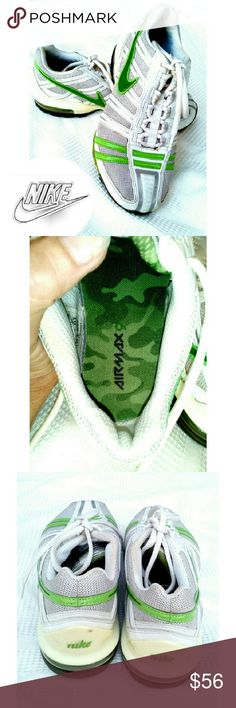 NIKE AIRMAX 90 RUNNING SNEAKERS EUC NIKE AIRMAX 90 RUNNING SNEAKERS Pre-Loved / EUC Slightly Used and Very Clean Insides (see pics) Very Good Shock Absorbing Cushions  Light Gray Color & Green Very Clean Bottoms/ Faded no 4 on Bottom Style # 31741-131 Size 6.5 **Open to FAIR Offers. Don't run anymore*** Nike Shoes Sneakers