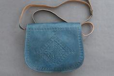 Engraved Messenger Bag - Denim Blue Leather Bags Handmade, Hand Stitching, Morocco, Saddle Bags, Blue Denim, Messenger Bag, Artisan, Accessories, Collection