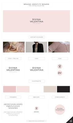 Tine: Farve, logo, font identity for Divina Valentina boutique by The Visual Corner studio Corporate Design, Identity Design, Brand Identity, Feeds Instagram, Web Design, Graphic Design, Brand Style Guide, Branding Your Business, Fashion Branding